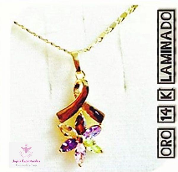 Dije de moño y estrella con cristales de colores y cadena